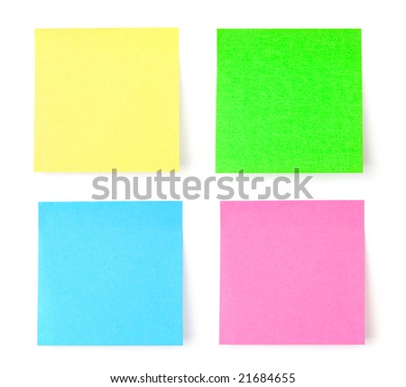 Multicolored postit note paper isolated on white background - stock photo