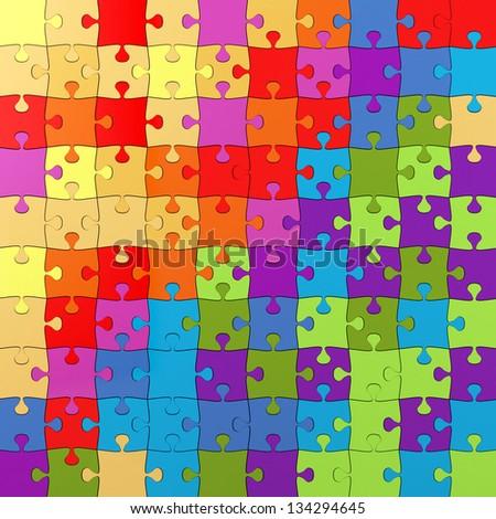 Multicolored Puzzle Illustration, Jigsaw - stock photo