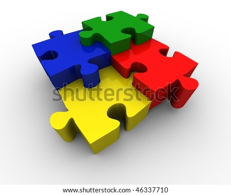 multicolored puzzle pieces in different height