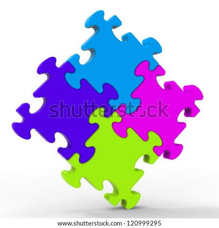 Multicolored Puzzle Square Shows Unity And Strength - stock photo