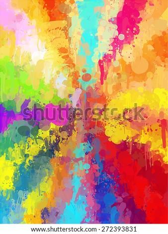 Multicolored rainbow brush strokes background. Raster version - stock photo