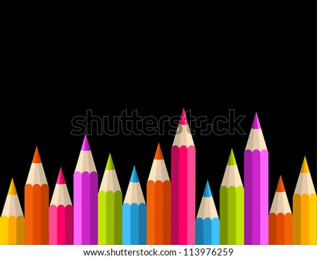 Multicolored rainbow pencils seamless banner pattern. - stock photo