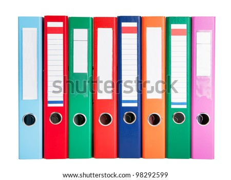 multicolored ring binders - stock photo