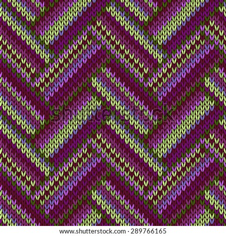 Multicolored Seamless Knitted Pattern. Green Lilac Magenta Color - stock photo