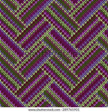 Multicolored Seamless Spring Knitted Pattern. Green Lilac Color - stock photo