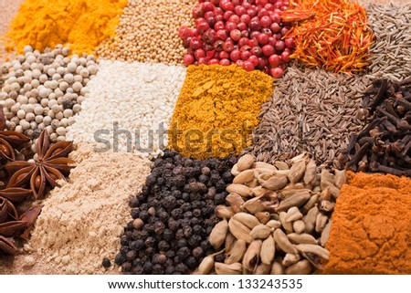 Multicolored set of various spices - stock photo