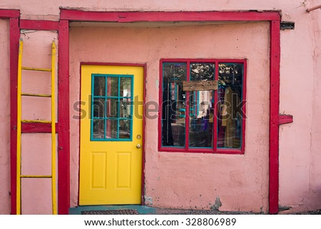 Multicolored shop entrance in Madrid, NM - stock photo