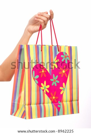 multicolored shopping bag on a white background