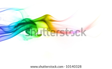 Multicolored smoke on a white background - stock photo