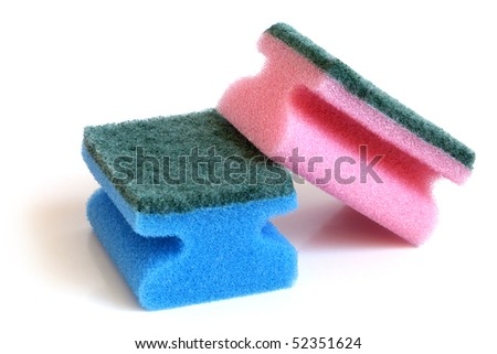 Multicolored sponges on a white background