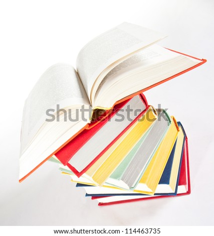 Multicolored stacked books - upper viewpoint