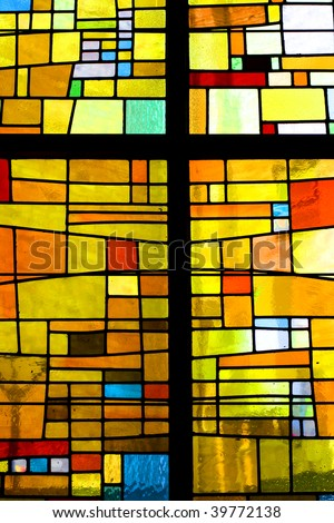 Multicolored stained glass pattern with cross - stock photo
