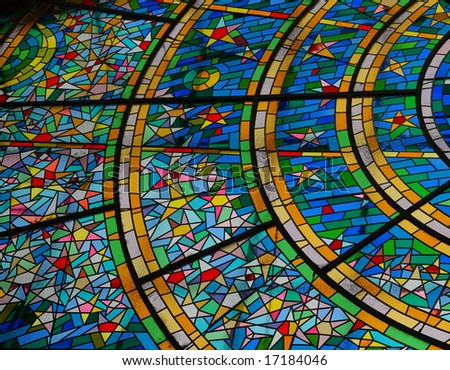 multicolored stained glass window - Prague - stock photo