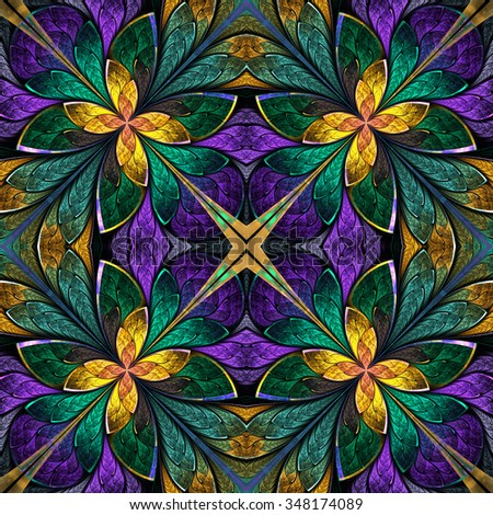 Multicolored symmetrical fractal pattern in stained-glass window style. Computer generated graphics. - stock photo