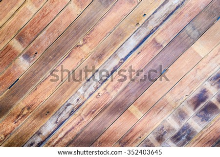 Multicolored teak wood wall background. - stock photo