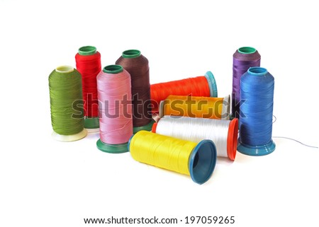 Multicolored  thread on White background