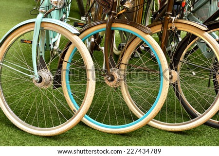 Multicolored wheel different bikes. Sports and Recreation