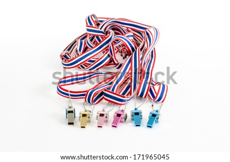 multicolored  Whistle-striped flag of Thailand  on a white background - stock photo
