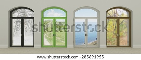 Multicolored windows. Four windows in different seasons. - stock photo
