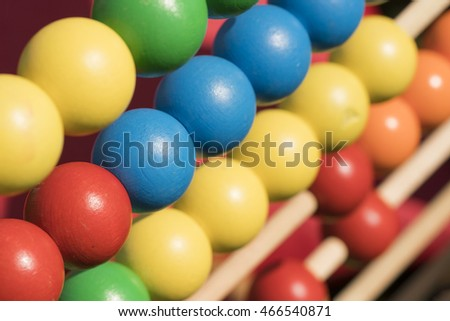 Multicolored wooden abacus, background