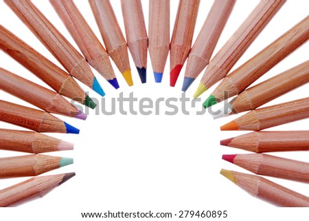 Multicolored wooden pencils isolated on white.Studio shot. - stock photo