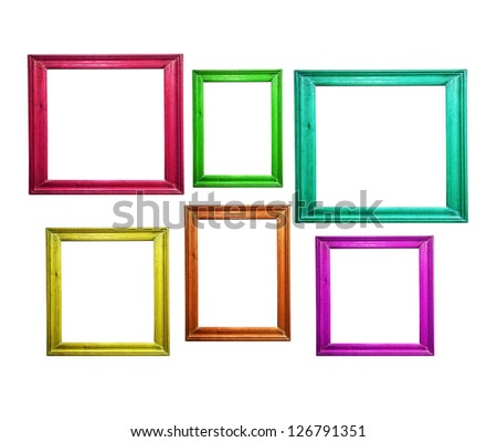 Multicolored wooden picture frames isolated on white