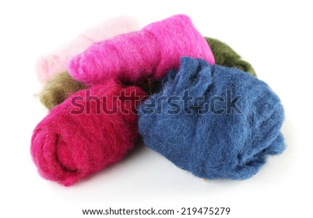 Multicolored wool for felting isolated on white