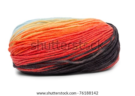 multicolored yarn for knitting isolated on white - stock photo