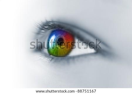 Multicolored Young Eye Macro - stock photo