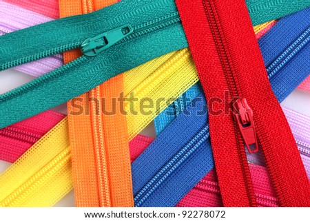 Multicolored zipper closeup - stock photo