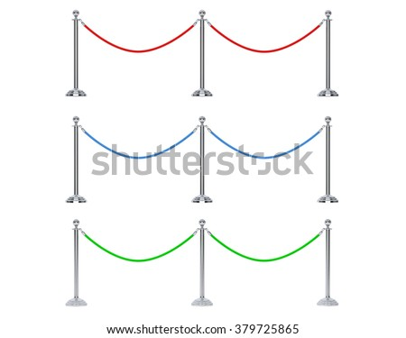Multicolour Closeup Barrier rope on a white background - stock photo