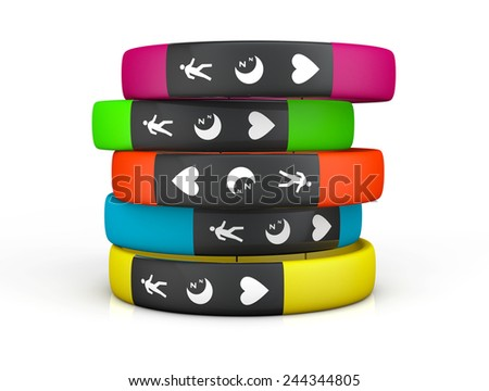 Multicolour Fitness Trackers on a white background - stock photo
