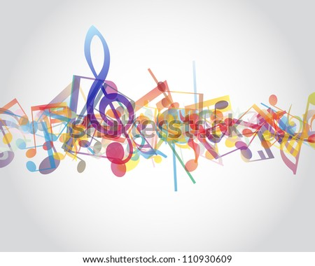 Multicolour  musical notes staff background