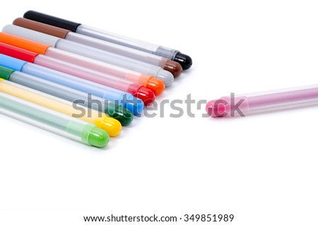multicolour pen isolated on white background