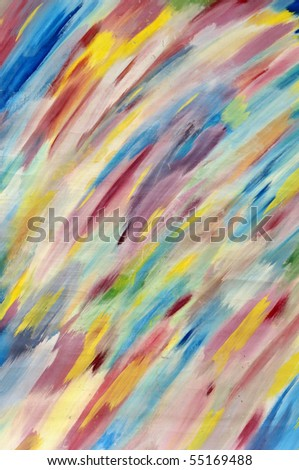 Multicoloured abstract background of varicoloured strokes of brush - stock photo
