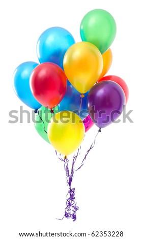 Multicoloured balloons on white background - stock photo