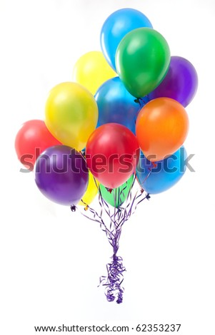 Multicoloured balloons on white background - stock photo