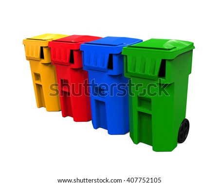 Multicoloured Garbage Trash Bins. 3D rendering - stock photo