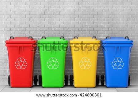 Multicoloured Garbage Trash Bins in front of brick wall. 3d Rendering - stock photo
