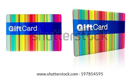 multicoloured generic gift card isolated on white background - stock photo