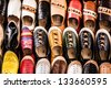 Multicoloured Moroccan slippers, Marrakesh - stock photo
