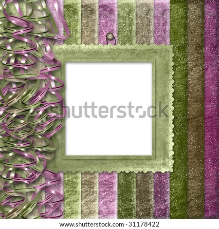 Multicoloured striped background with frame for photo or congratulation - stock photo