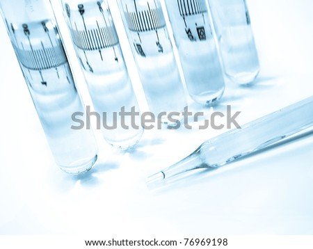 Multicoloured test tubes, Science and medical test tubes - stock photo