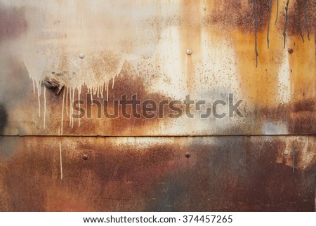 multicoloured weathered rusty stained iron texture, dark brown, white and orange rust - stock photo