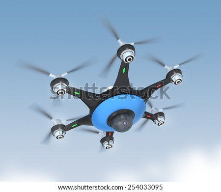 Multicopter with surveillance camera in mid-air. Concept for security and privacy,  - stock photo