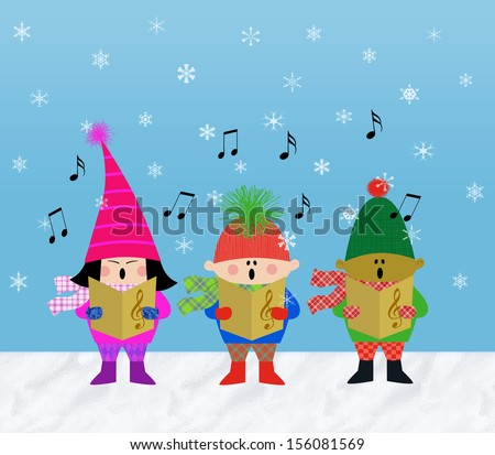 Multicultural children singing Christmas carols in the snow - stock photo