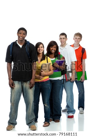 Multicultural College students/friends, male and female - stock photo