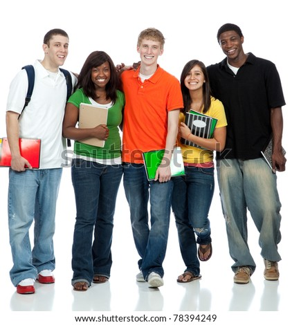 Multicultural College students/friends, male and female waling on a white background - stock photo