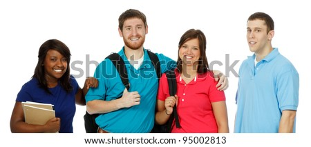Multicultural College students, male and female - stock photo