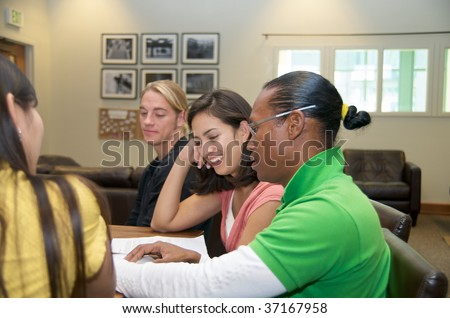 Multicultural students indoor - stock photo
